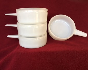 Vintage set of 4 milk glass ovenware with 3 lids - Jeanette Glass Co    - J-2639 - Chili or Soup Bowls - Made in USA