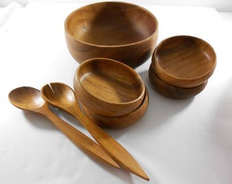 Vintage Monkey Pod Salad Serving Bowl Set for 4 Philippines withw Fork Spoon Wood