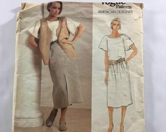 Vogue Calvin Klein Dress Top Vest Skirt Sewing Pattern 1329 Misses Size 8 Cut