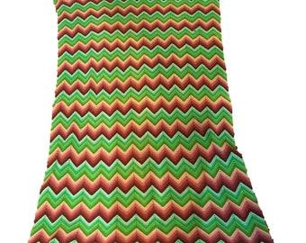 "Vintage Crochet Blanket Throw Chevron Pattern Granny Afghan Green Brown 49""X76"" Handmade"