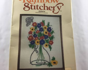 Rainbow Stitchery Jessica Kit 680 Crewel Flowers Vase Butterfly Designed by Jeannie 1978 Abstract