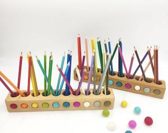 Wooden pencil holder from beech tree, Montessori pencil holder, toddler gift, wood desk organizer, desk decor, office organizer
