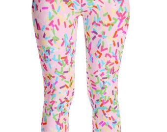 6790a44b3f9963 Sprinkle Leggings, Sprinkles, Colorful Leggings, Adult Leggings, Sweets  Leggings, Sprinkles Print, Cupcakes and Ice Cream, Sweets Print