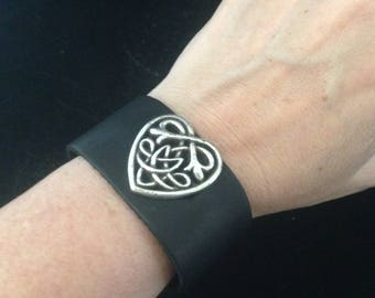 Black Leather Cuff Bracelet with Silver Celtic Heart
