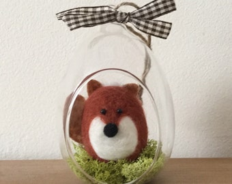 Hand needle felted fox decoration.
