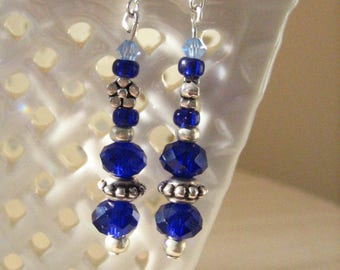 Cobalt and Sky Blue Earrings with Silver Daisies