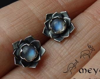 Silver lotus flower stud earrings, gemstone earrings