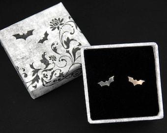 Sterling silver bloodthirsty bat stud earrings