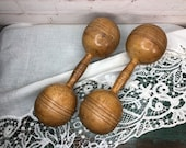 Pair, Antique Wooden Exercise Weights, Dumbbells, Early 1900s, man cave vintage decor, Chic Shack Antique