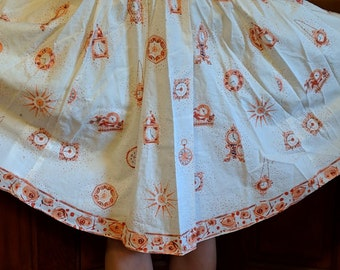 Silkscreened Print of Clocks and Starfish Sample Whte Percale Great For Skirt Runner 44 wide x 82 long Pillows