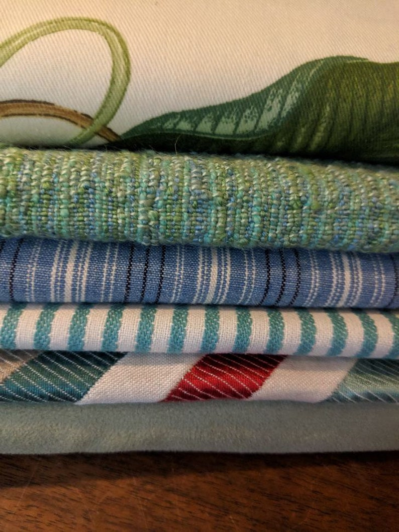 6 Decor Fabric Bundle Crafting 8 x 10 inch Blue Green Thick Fabrics Decorative Fabric for Sewing