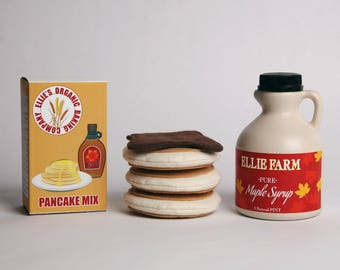 Felt Pancake - Personalized Felt Pancake Set - Play Food Pancake Set - Pancakes, Mix and Syrup Set - Pancake Pretend Play Set