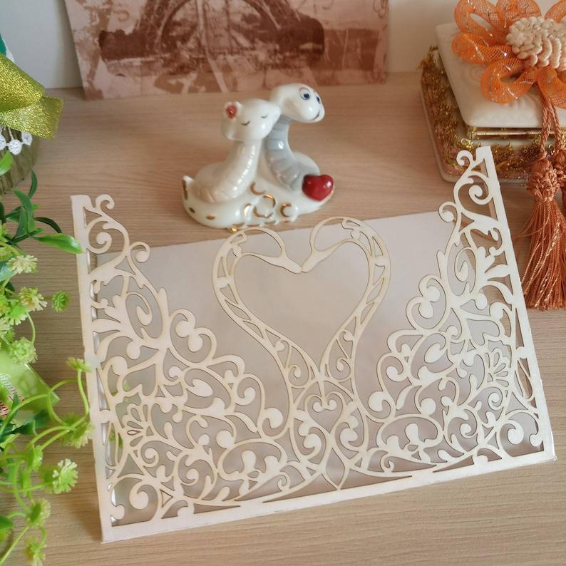 10 pcs WHITE Shimmer Laser Cut swan Wedding Invitation 5x7envelopecolors made to orderfoto color 7 WHITE