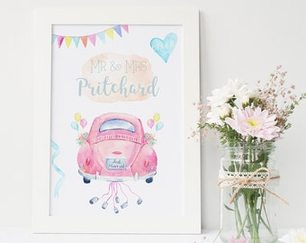 Personalised Beetle Car Wedding Print - Wall Art - Home Decor