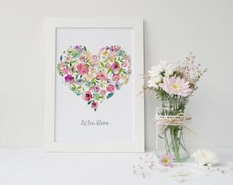 Let Love Bloom - Watercolour Floral Heart Print - Wall Art - Home Decor