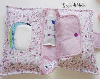 Diapers bag rose stars-babies-moms-new born idea-diaper clutch-fuchsia