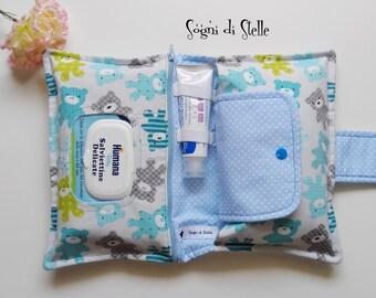 Door Diapers bag blue and grey teddy bears-baby-babies-moms-new birth idea-diaper clutch