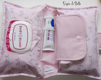 Door Diapers bag pink bunnies-baby-babies-moms-new birth idea-aper clutch-bunny-pink