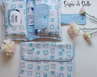 Set of diapers and bag for Mouse and Cake blue-baby-set new birth-clutches-bag-diaper clutch