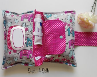 Bag diapers for elephants-babies-moms-new birth idea-diaper clutch-fuchsia-grey