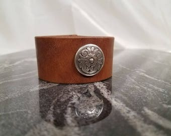 Custom Handmade Leather Wrist Cuff with Metal Ornate Floral Concho Made in the USA