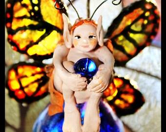 Monarch Butterfly Fairy Adirondack Suncatcher Glass Ornament