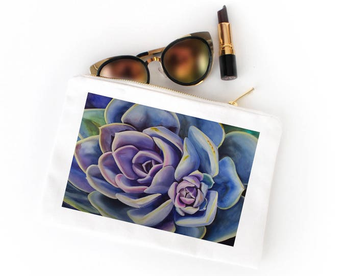 COSMETIC BAG- SUCCULENT Painting, Watercolor Painting on Cosmetic Bag
