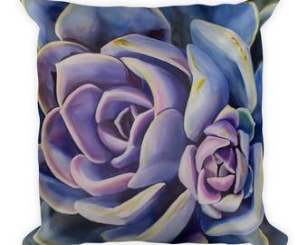 Succulent Watercolor Square Pillow