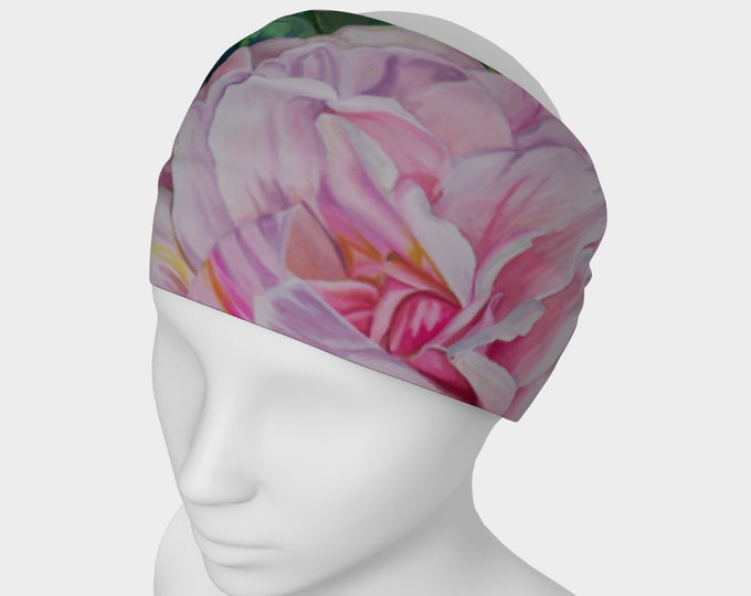 Pink Floral Headband- Watercolor Painting on Headband