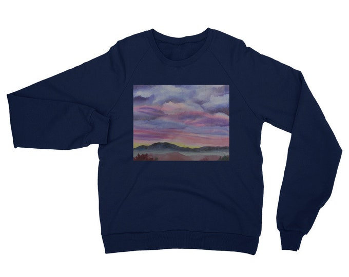 Desert Sunset Unisex California Fleece Raglan Sweatshirt- Watercolor Painting on Sweatshirt