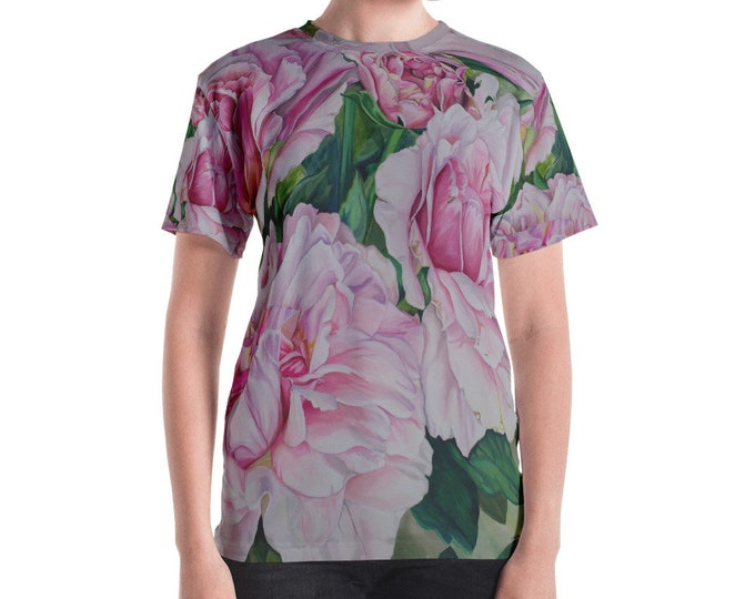 Pink Floral - Women's T-shirt, Watercolor Painting on Shirt