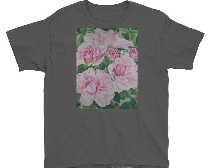 Pink Floral - Youth Short Sleeve T-Shirt, Watercolor Painting on Shirt