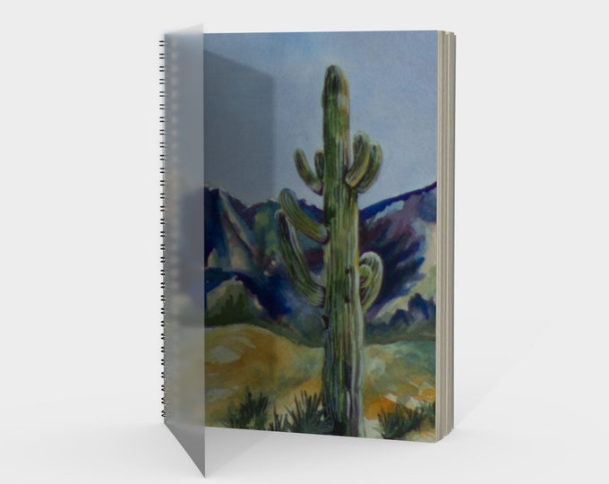 Desert Cactus Spiral- Watercolor Painting on Sketchbook, Drawing Book, Note Book