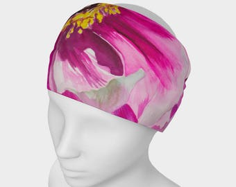 HEADBAND- PINK Flower, Watercolor Painting on Headband