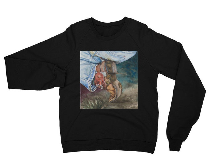 Cowboy Boot Unisex California Fleece Raglan Sweatshirt- Watercolor Painting on Sweatshirt