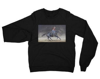 Cowgirl  Roping Unisex California Fleece Raglan Sweatshirt- Watercolor Painting on Sweatshirt