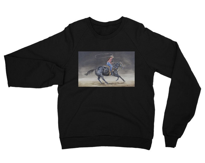 Cowgirl  Roping Unisex California Fleece Raglan Sweatshirt- Watercolor Painting on Sweatshirt