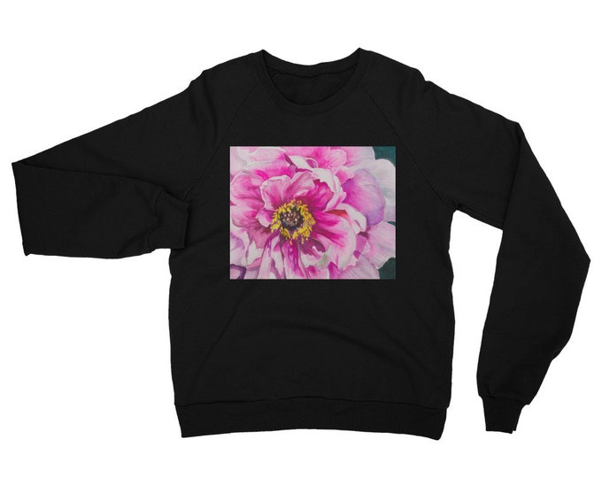 Pink Flower Unisex California Fleece Raglan Sweatshirt- Watercolor Painting on Sweatshirt