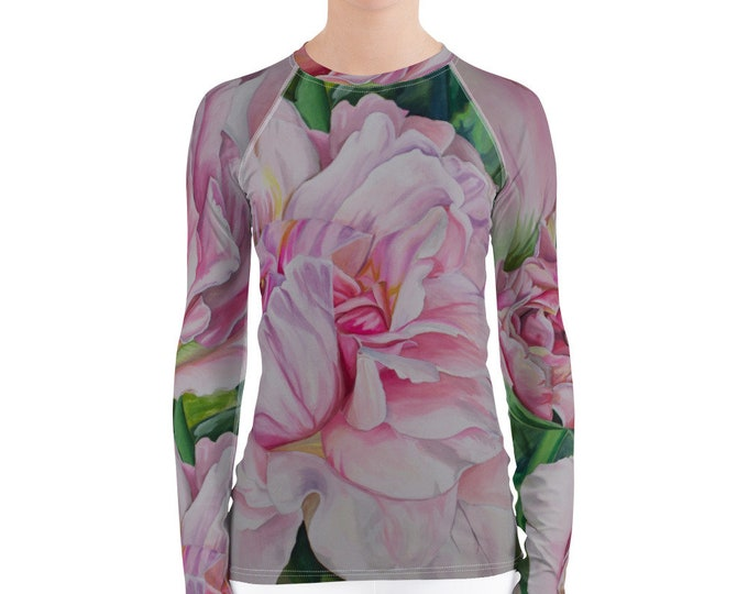 Pink Floral Women's Rash Guard- Watercolor Painting on Shirt