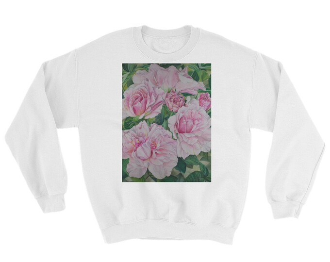 Pink Floral - Sweatshirt, Watercolor Painting on Sweat Shirt