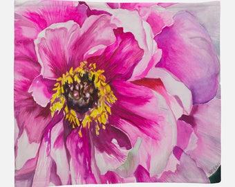 FLEECE BLANKET- PINK Flower, Watercolor Painting on Blanket