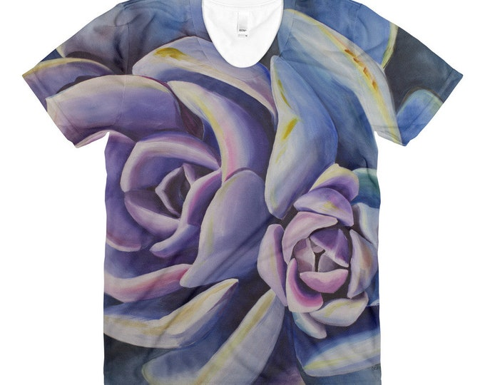 Succulent - Sublimation women's crew neck t-shirt, Watercolor Painting on Shirt