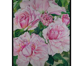 ART PRINT - FREE shipping- Watercolor Painting of Pink Flowers