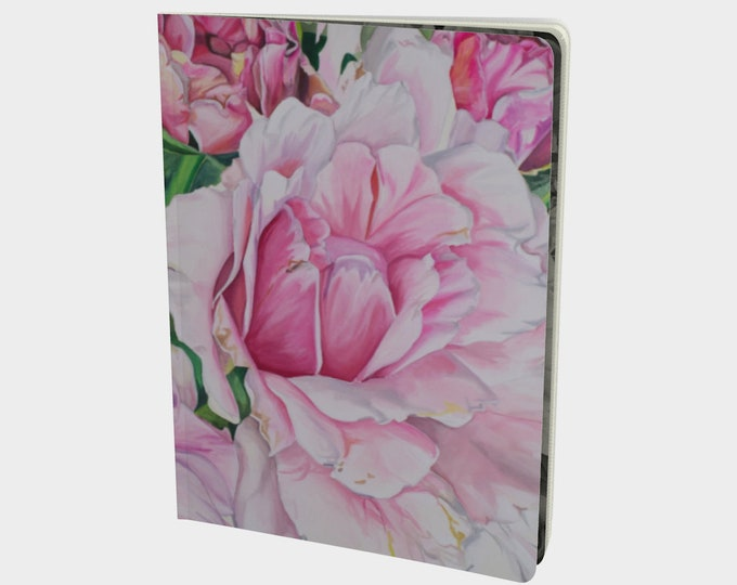 Pink Floral Large Notebook - Watercolor Painting on Note book