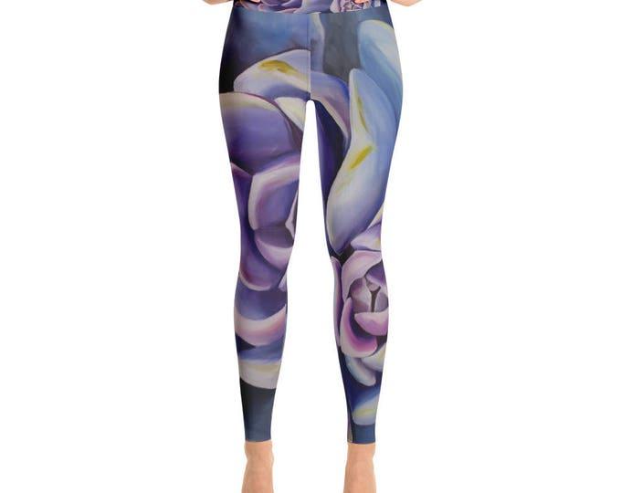 Succulent Watercolor Yoga Leggings