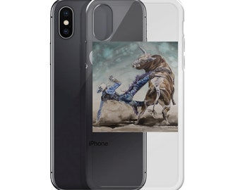 Bull Rider - iPhone Case- Watercolor Painting on phone case