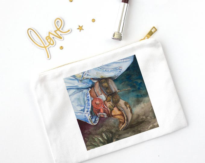 COSMETIC BAG- COWBOY Boot, Watercolor painting on bag