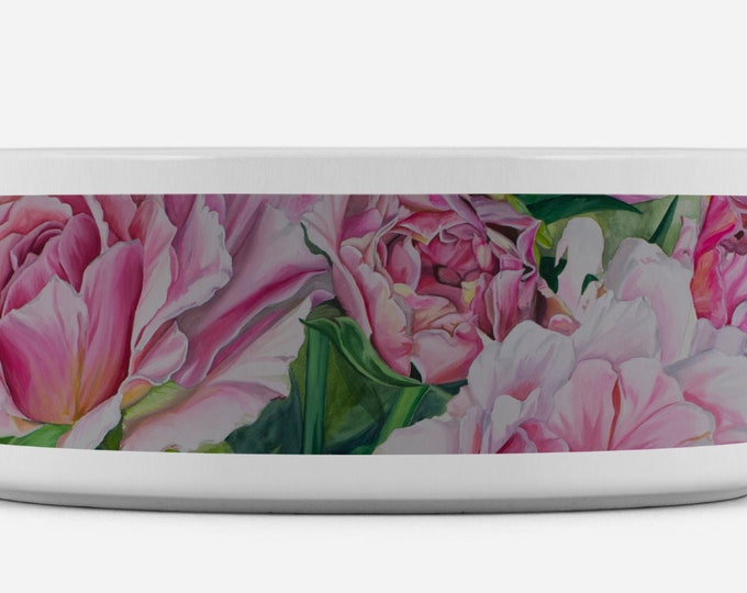 Pink Floral - Dog Bowl, Water bowl, Food Bowl, Cat Bowl