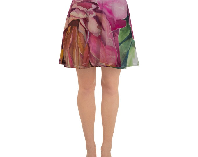 Floral Watercolor Painting on Skater Skirt- Painting on Clothing