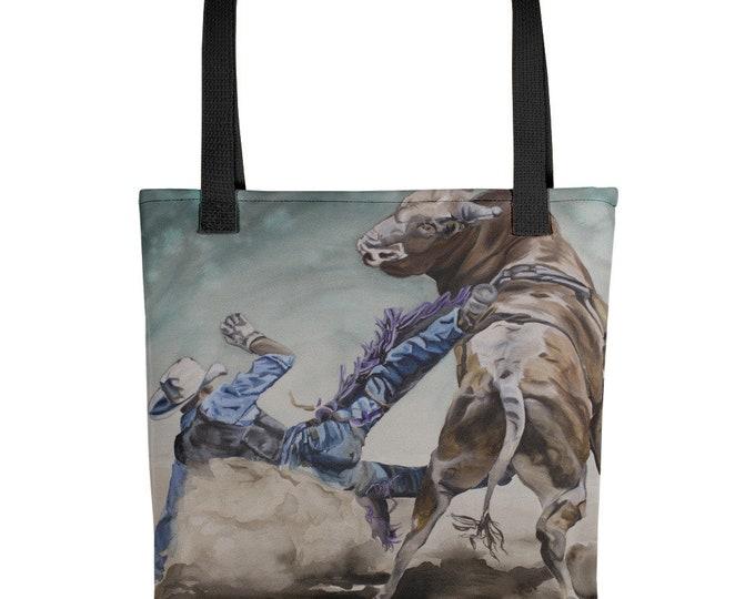 BULL RIDER- Tote bag, Watercolor Painting on Bag